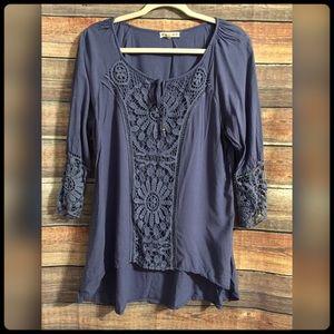 Indigo thread co. Blue crochet hi low hem blouse